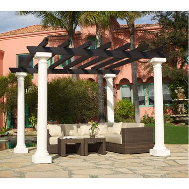 Pergola w 4 Doric Columns Gazebo Patio Trellis Outdoor | eBay