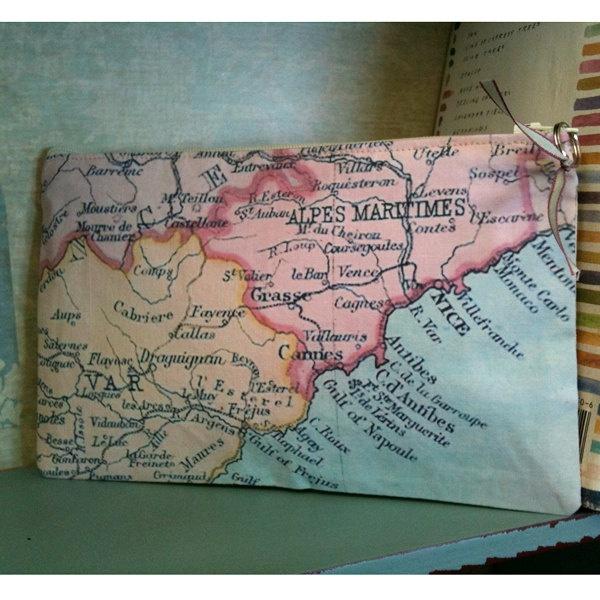 French script purse, vintage linen Purses, Personalized