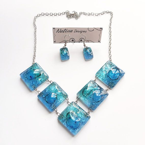 Fused Glass set of Necklace and Earrings