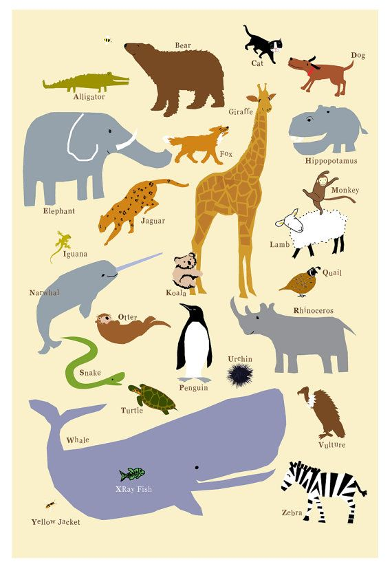 Fatto a mano di stampa 13 x 19 premium alfabeto animali arte parete stampa vivaio