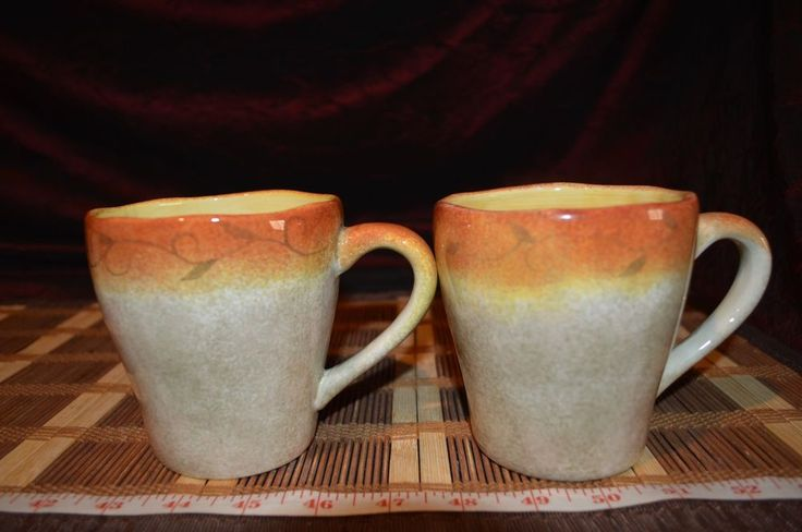 Two 222 Fifth 'Tuscan Vine'  Rustic Brown Coffee Cups / Mugs TV2 #222Fifth