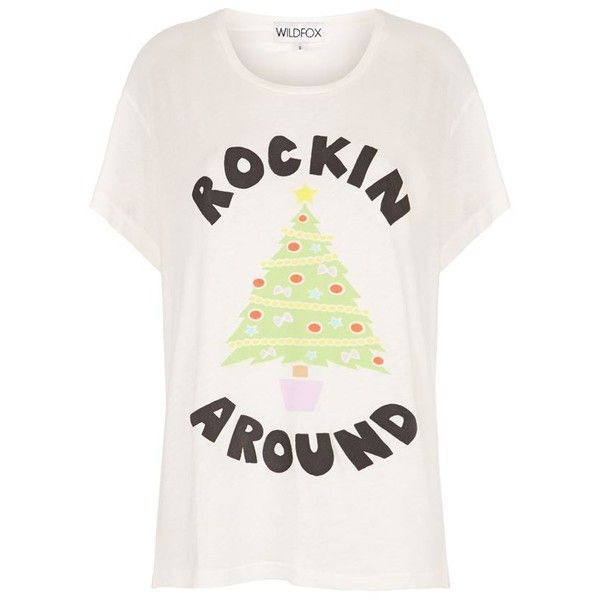 Wildfox Christmas Tree T-Shirt ($90) ❤ liked on Polyvore featuring tops, t-shirts, relax t shirt, slogan tees, slogan t-shirts, white top and christmas tee