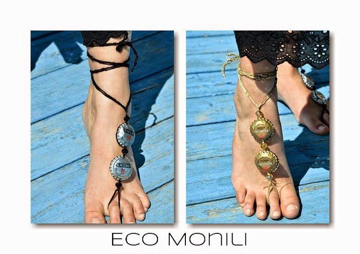 barefoot, monili, gioielli, piedi, cavigliera, recycle, tappi, oro, argento, crochet, cotone, eco sostenibilità, spago, piedi,