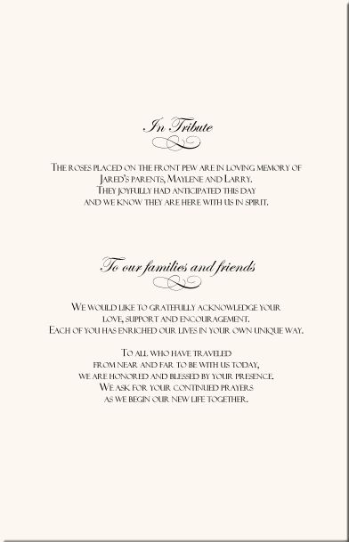 Wedding Program Wording Rose Wedding Program Examples