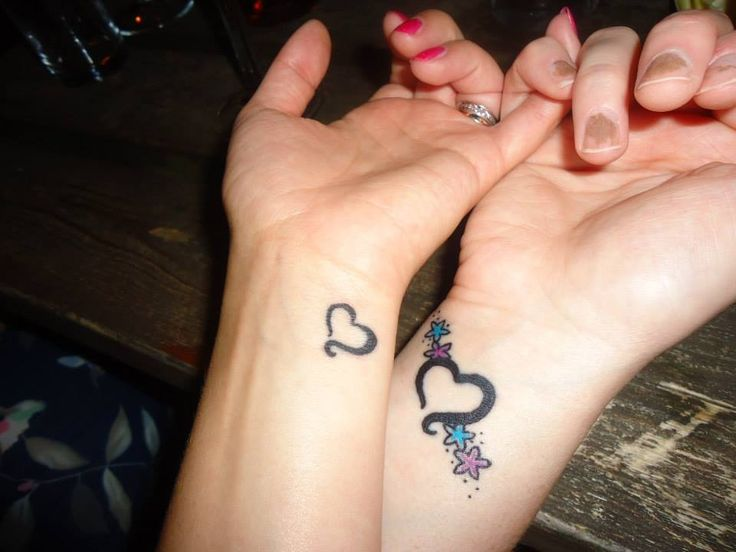 Sisters/pinky promise heart wrist tattoo.