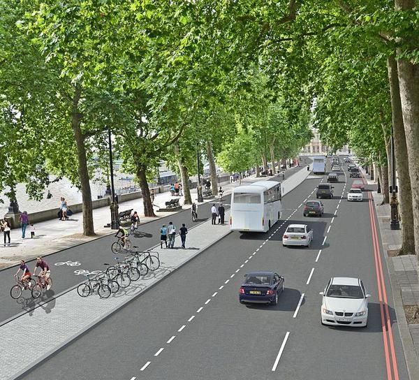 Artist's impression of cycleway planned for London's Victoria Embankment. Click image for link to full profile. Visit the slowottawa.ca boards >> https://www.pinterest.com/slowottawa/