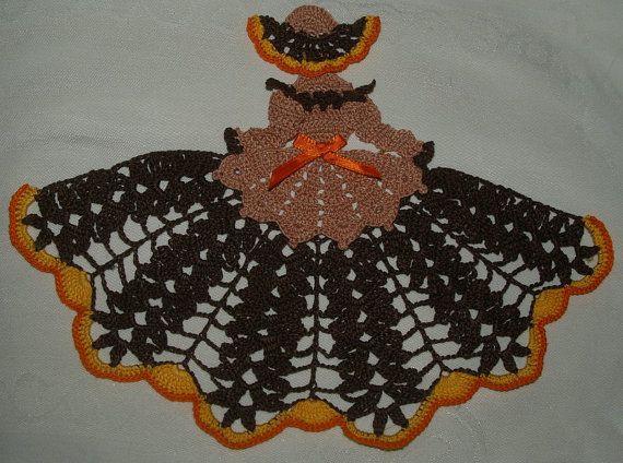 Autumn Crinoline Crochet  Doily Girl Pattern by vjf25 on Etsy, $3.95