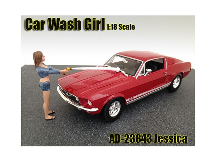 Car Wash Girl Jessica Figurine / Figure For 1:18 Models by American Diorama - Comes in a blister pack. Only one figurine will be received. Does not come with the car shown. Each standing figure is approximately 4 inches tall.-Weight: 1. Height: 5. Width: 9. Box Weight: 1. Box Width: 9. Box Height: 5. Box Depth: 5