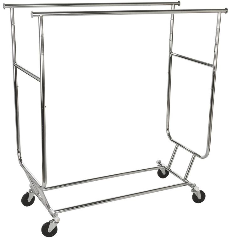 Collapsible Clothing Rack with Dual Hang Rails and Casters - Chrome