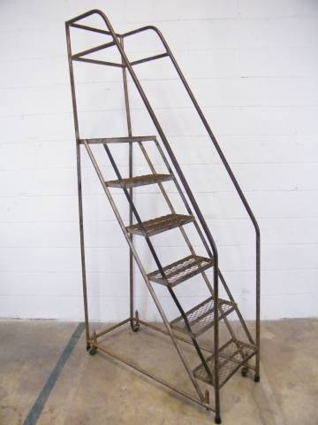 """Rolling Metal Warehouse Stairs - approximately 16 7/8"""" wide x 81 7/8"""" tall x 38"""" front to back. This could be repurposed into a bookshelf or display shelf. - $185"""