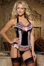 Dreamgirl Evangeline Bustier Set Black/Pink $45 WITH FREE SHIPPING & HANDLING *** PICKED UP ORDERS RECEIVE 10% OFF