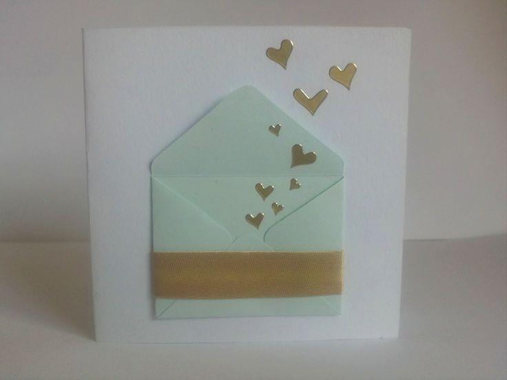 přání - dopis otevírací přání 10x10 cm použito: tvrdý papír, barevný papír, samolepky, stuha