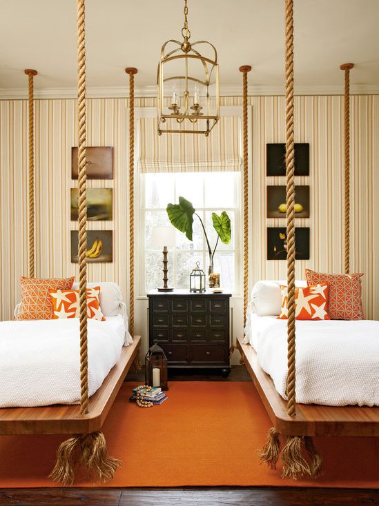 what do you think about these hanging beds in this homeowners guest room would you - Multi Canopy Decor