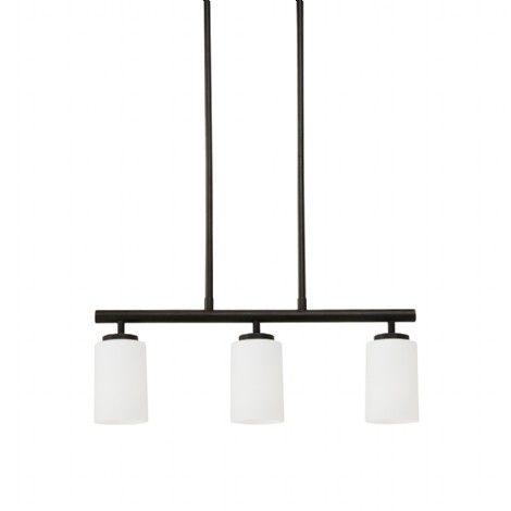 Luminaire suspendu rectangle sur tiges en m tal noir avec for Luminaire suspendu noir