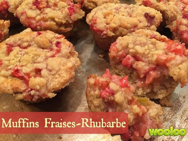Wooloo | Les meilleurs muffins fraises rhubarbe
