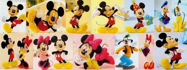 Molde Turma do Mickey para artesanato em feltro da disney   Mickey Minie Pateta Pluto Donald Daisy    Moldes de feltro  do Mickey e sua turm...