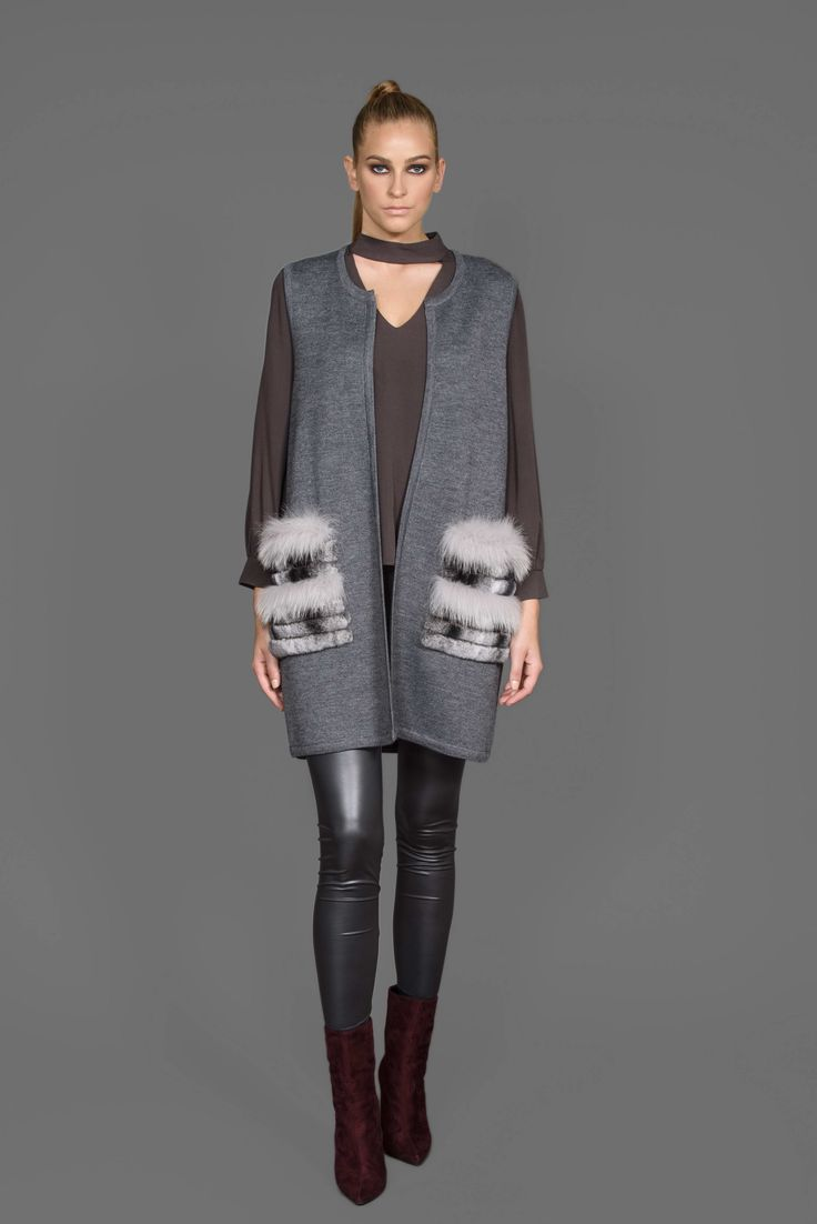 knitting vest with fur pockets