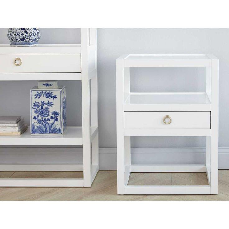 Bungalow 5 Newport 1 Drawer Side Table - White | Bedside Tables & Nightstands | Bedroom | Furniture | Candelabra, Inc.