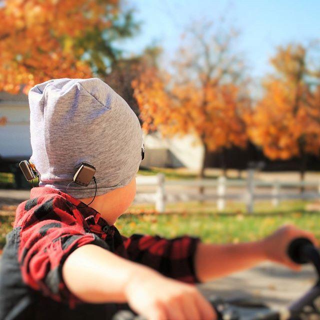 Cover those ears...er, nubs. Bone Anchored Hearing Aids or BAHA softband converted to a winter hat. Ideas for Boys with the BAHA #microtiaatresia #bahaforboys #winterbaha