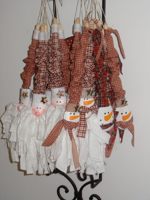 Wooden Spoon Rag Santa Rag Snowman Holiday by TurtleLoveLee,