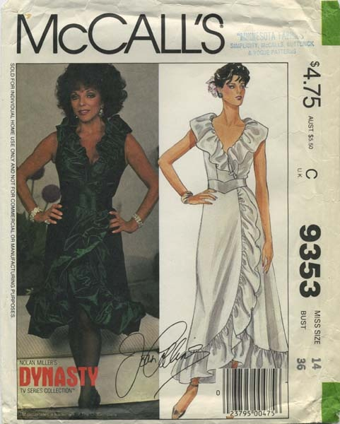Vintage Sewing Pattern featuring Joan Collins | Nolan Miller's Dynasty TV Series Colleciton | McCall's 9353 | Year 1984 | Bust 36 | Waist 28 | Hip 38