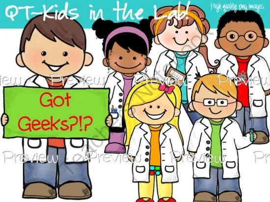 CLIP ART - QT~Kids in the Lab! - Personal and Commercial use from Brainy-teach Resources on TeachersNotebook.com -  (14 pages)  - adorable science kids clip art