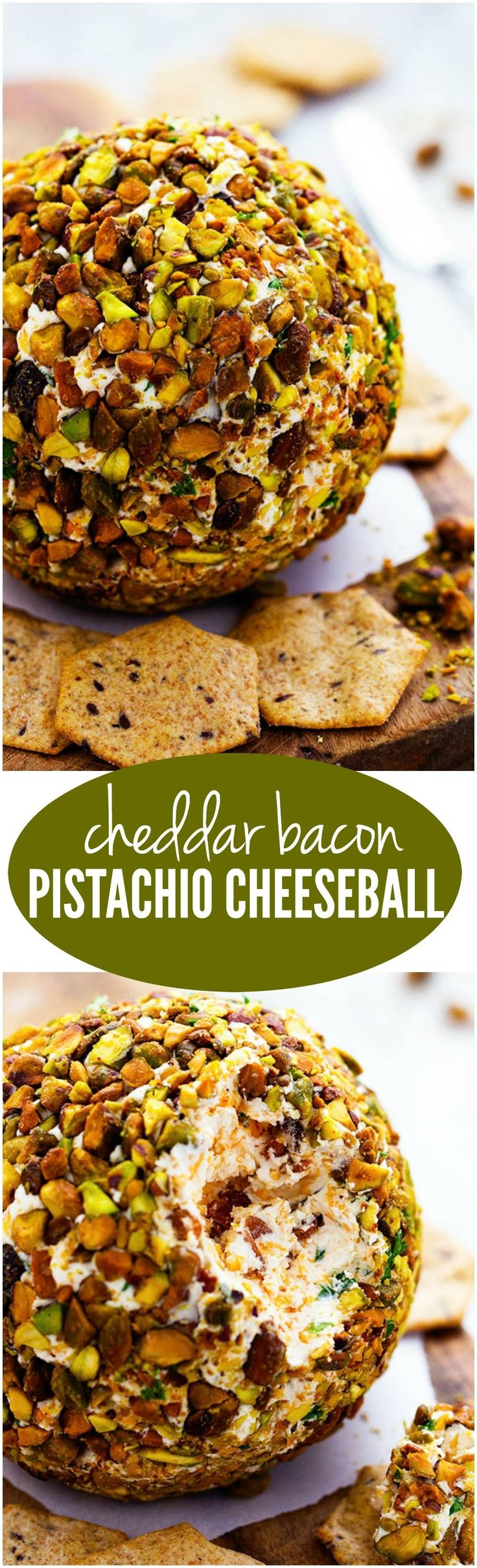 Cheddar Bacon Pistachio Cheeseball is packed with amazing flavor and will be a huge hit! therecipecritic.com