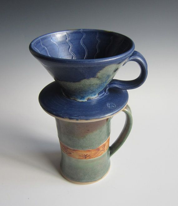 Drip coffee maker / handmade / pottery / blue / coffee cone / single serving / pour over / ready ...