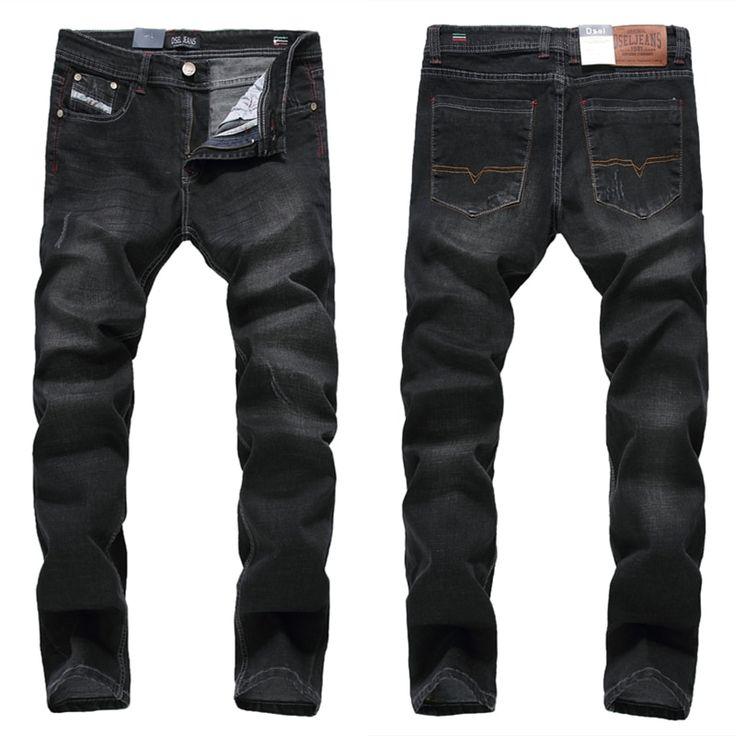Fashion mens black jeans elastic trousers male slim fit