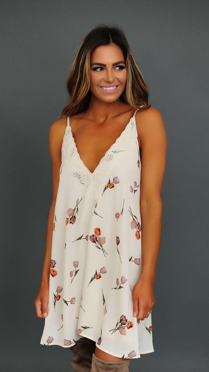 Cream Tulip Print Tank Dress - Dottie Couture Boutique