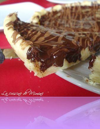 Tarte fondante à la compotée de poire sous couche de chocolat craquant