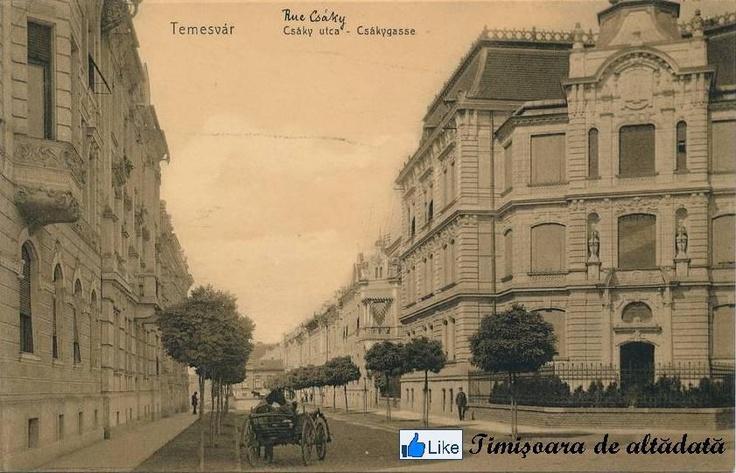 Timisoara - 1911 - Strada Csáky (actualmente General Henri Berthelot), în partea dreapta Palatul Flavia, care astazi gazduieste Consulatul General al Germaniei la Timisoara.