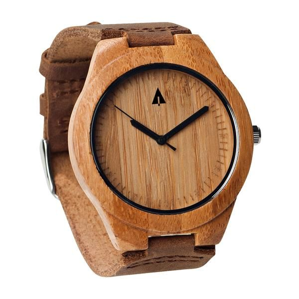 Tree Hut Brown Leather Bamboo Watch | This wooden Tree Hut watch has genuine brown leather bands and is handmade in San Francisco from real bamboo wood with available engraving.