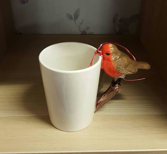 Scented Vegan Candle in a Mug with Robin