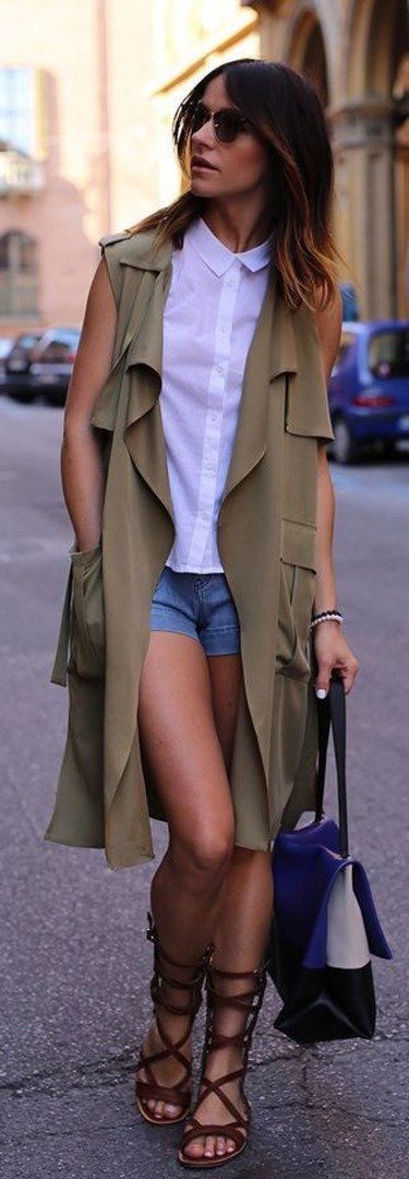 sleeveless blazer + denim shorts + gladiators | Office style