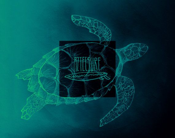 As part of the first collection from the aztecsurfcollective, we present TURTLE.  This turtle was drawn by Johan and makes for a quite simple, but stunning look. We think of it as a quintessential part of this collection, and love the depth of the ocean behind. You can also order this poster without the aztecsurf logo in the middle, since we thought that would make a quite nice poster too!  Checkout our site: http://www.aztecsurfcollective.com #surf #aztec #turtle #sea #ocean #aztecsurf