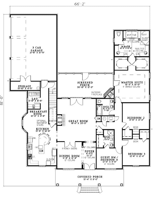 First floor plan of colonial southern house plan 62195 for Southern colonial house plans
