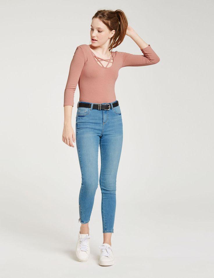Jean skinny blanc femme taille haute