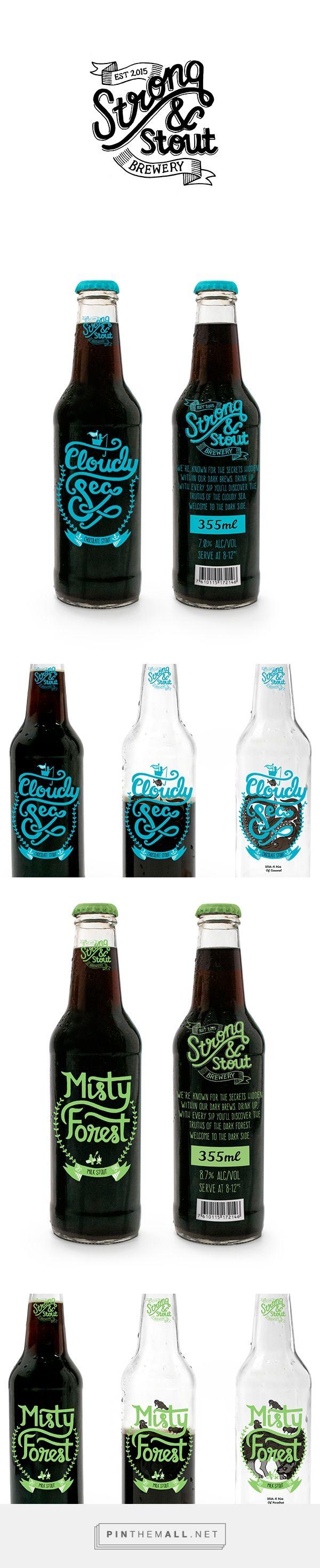 El lettering tiene estilo y cada estilo habla para cada marca. Quiero probar esta cerveza Strong & Stout Brewery packaging designed by Taylor Lee