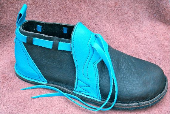 Leather Handmade Shoes turquoise cow on brown by thoseshoes, $160.00