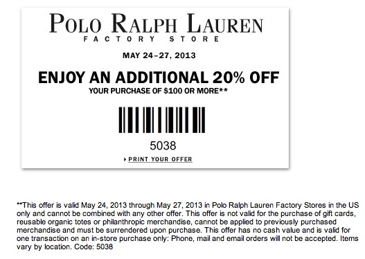 polo ralph lauren printable coupons outlets. Black Bedroom Furniture Sets. Home Design Ideas