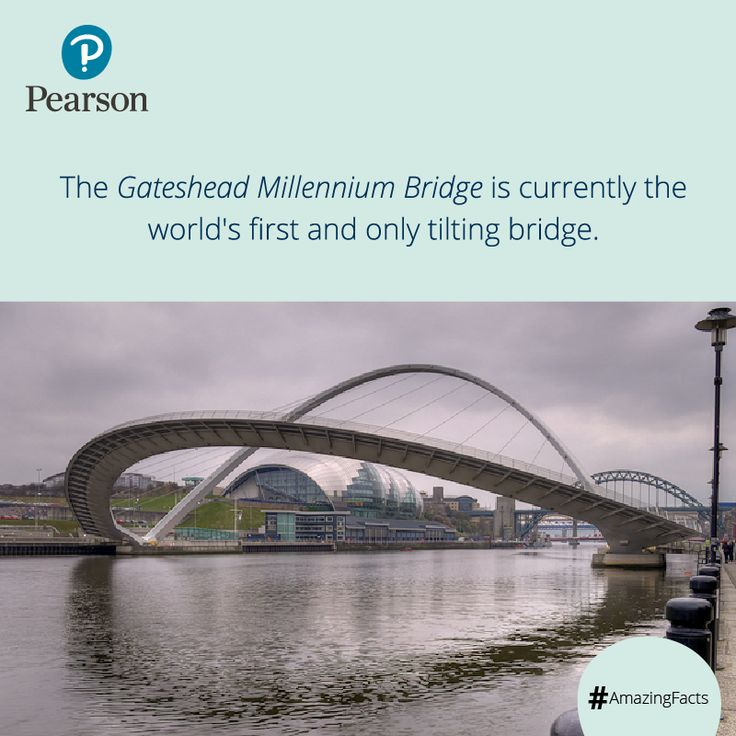 The Gateshead Millennium Bridge is referred as the 'Blinking Eye Bridge' or the 'Winking Eye Bridge' due to its shape and its tilting method. #Amazingfacts