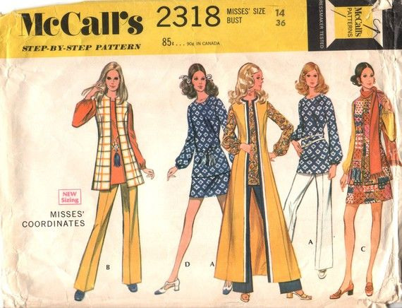 4f619ecc8 Vintage 70s Sewing Pattern MAXI VEST, Straight-legged Pants, Miniskirt and  Blouse with Gathered Cuffs - size 14 - bust 36