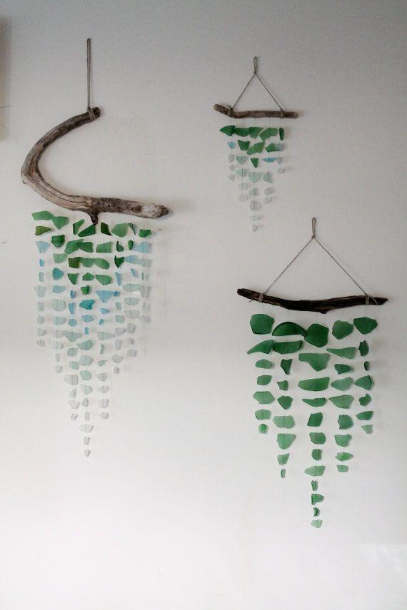 Meer Glas & Treibholz Mobile grün von TheRubbishRevival auf Etsy