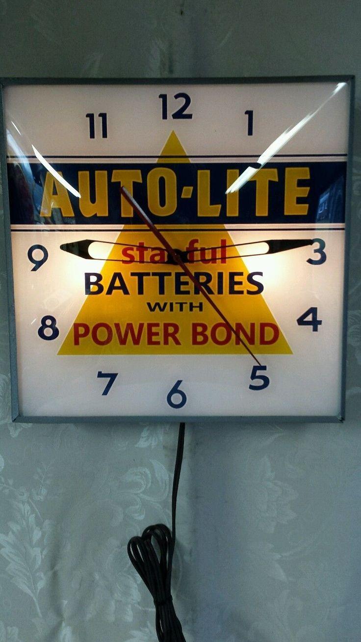 Auto lite sta ful batteries light up advertising clock must see ebay