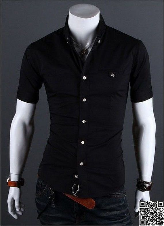 Mens Fashion Cotton Casual Slim Fit Short Sleeve Solid Color Dress Shirts ($13.99)