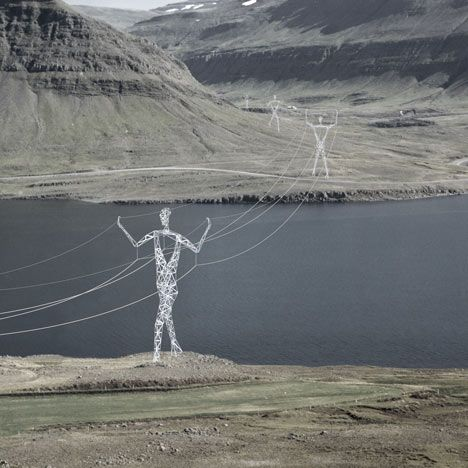 These conceptual electricity pylons shaped like human figures are popular today.