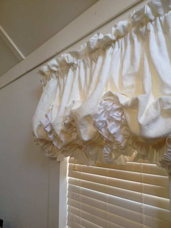 Soft Washed White Linen Balloon Curtain With White by MimiAndMe2, $159.00