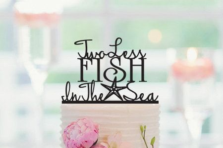 Two Less Fish in The Sea Wedding Cake Topper by CakeTopperCompany
