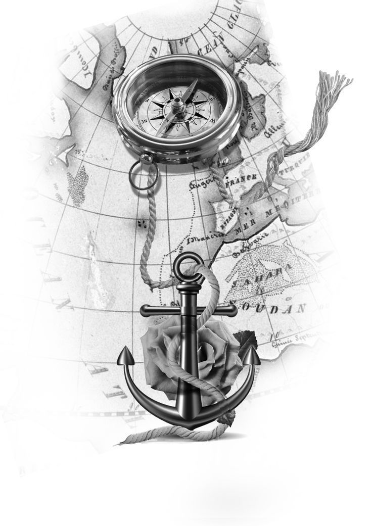 anchor with rope upon the map tattoo design – #anchor #Design #map #rope #tattoo